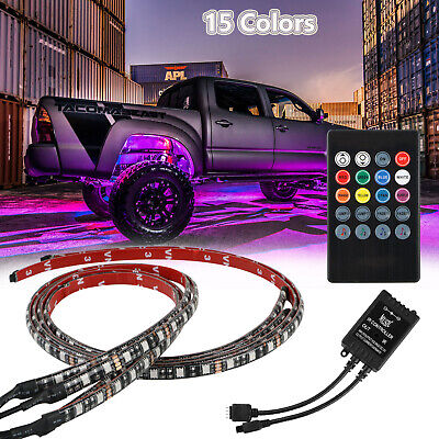 RGB 48 LED Strip Under Car Tube Underglow Underbody System 4Pcs Neon Lights Kit 1