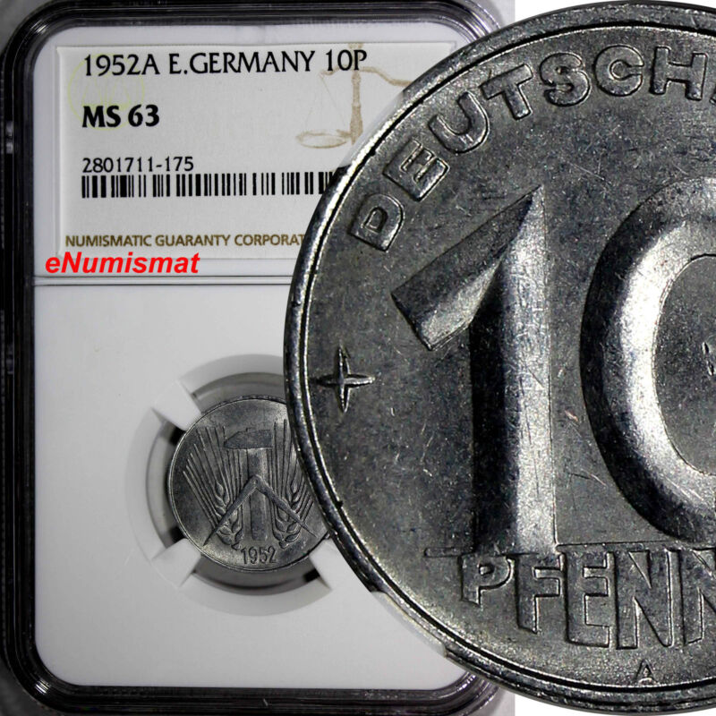 German-Democratic Republic (DDR) 1952 A 10 Pfennig NGC MS63 BU  KM# 7