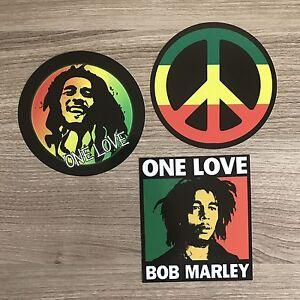 Bob Marley One Love Reggae Peace Sign Vinyl Sticker Set - Free Shipping