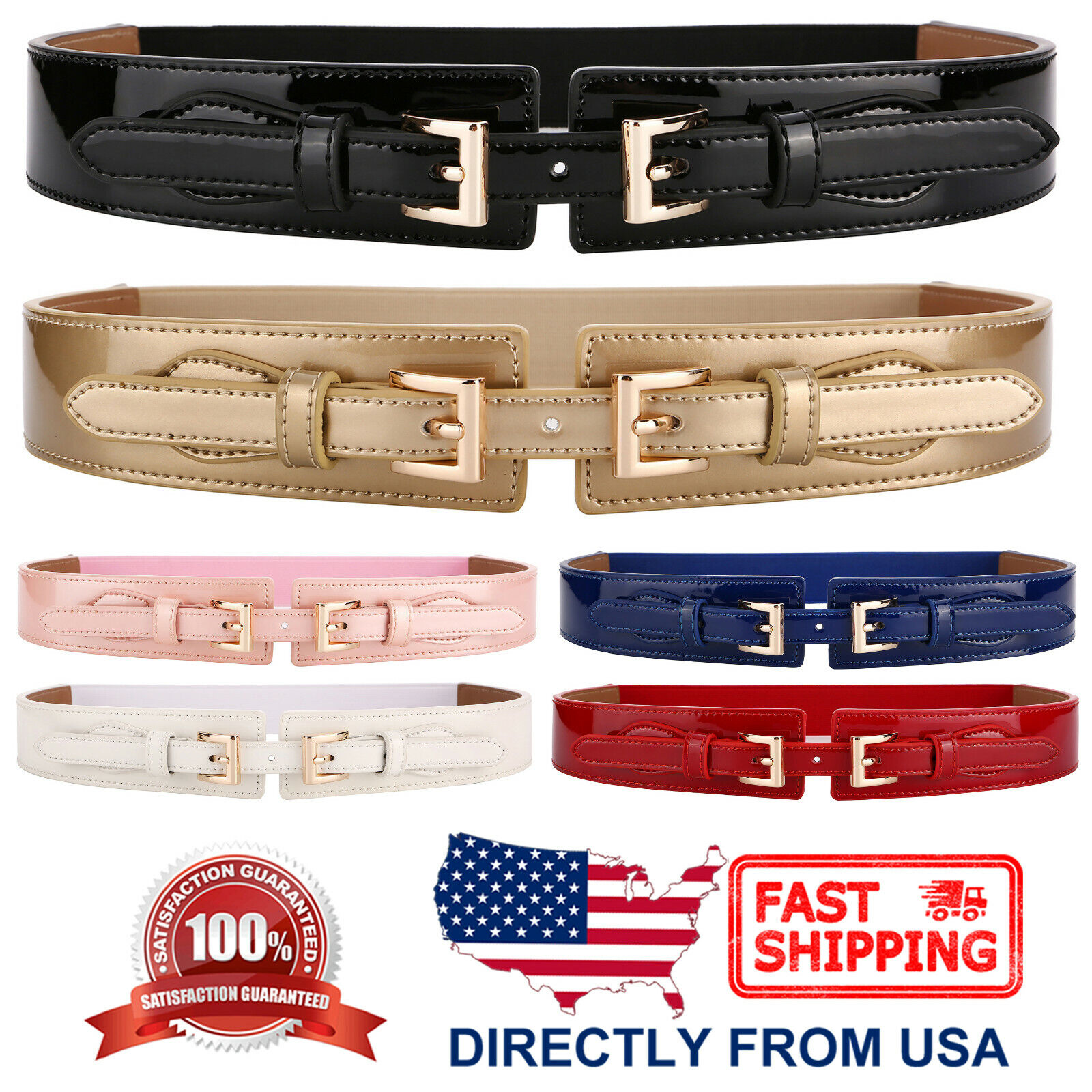 Women's Waist Belt Shiny Patent Leather Elastic Stretch Cinch Belt Belts