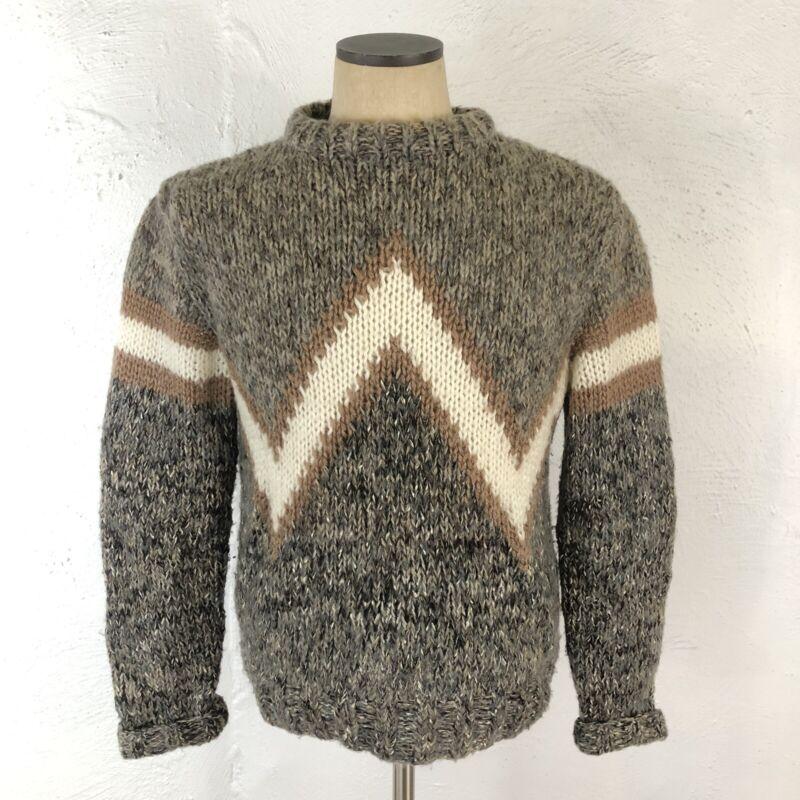 Vintage 50s 60s Sweater Atomic Mid Century Retro Mod Stripe Hand Knit Chevron