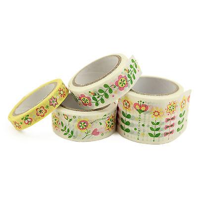 Set of 4 - Folk Style Floral Washi Tape Skinny Wide Planner Craft Scrapbooking