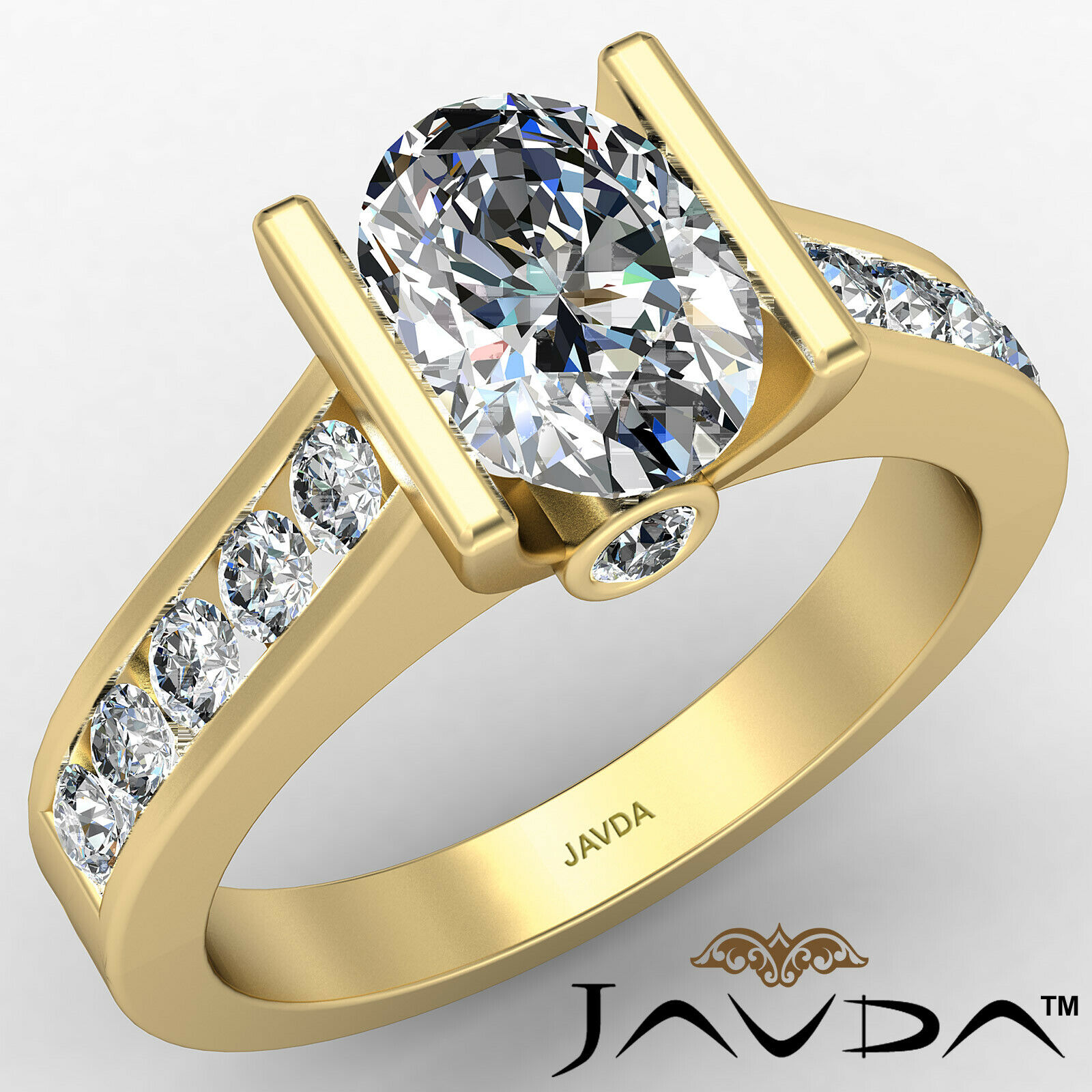 Oval Diamond Engagement Bezel Setting Ring GIA, E Color & SI2 clarity 1.4 ctw. 1