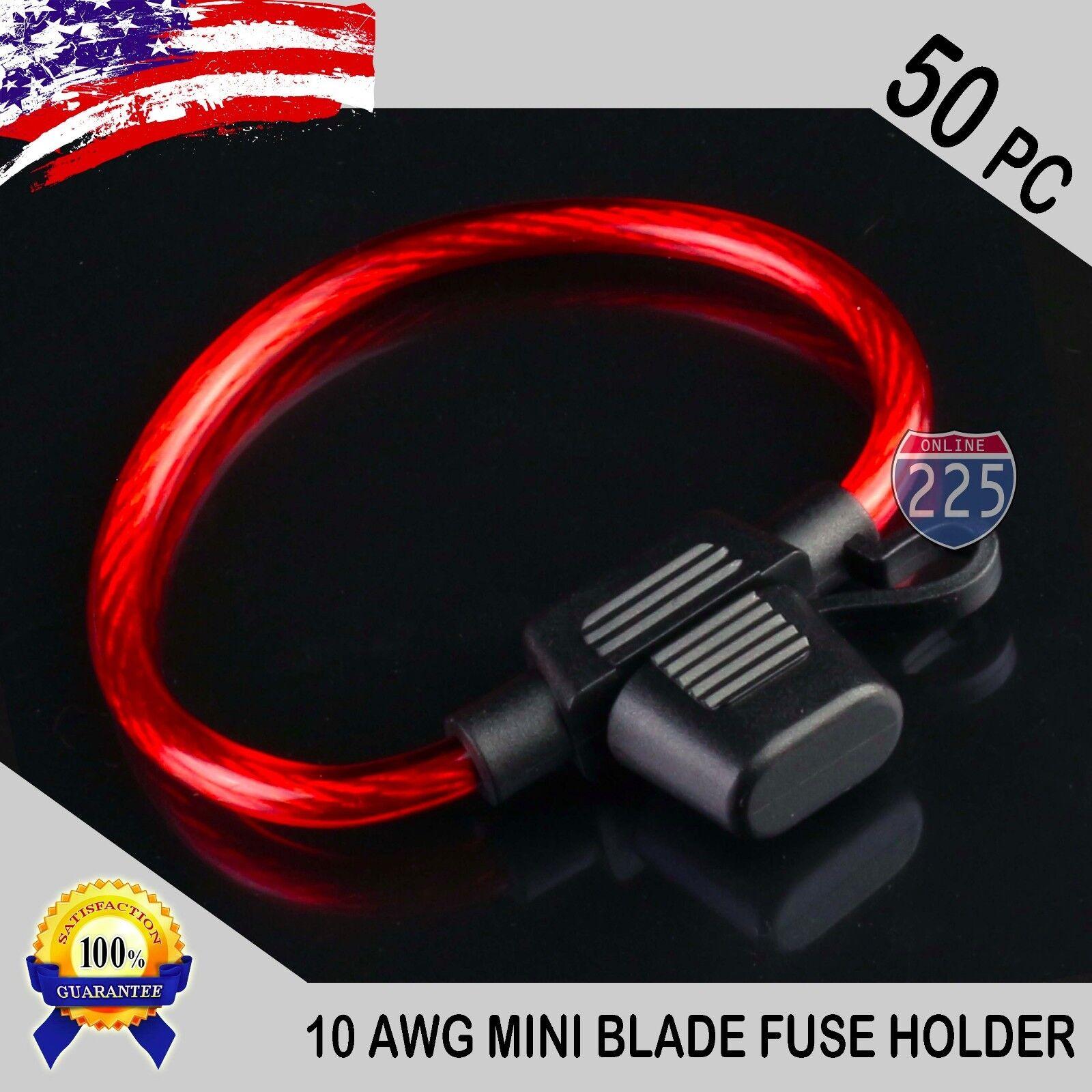 50 Pack 10 Gauge Apm / Atm Mini Blade Inline Fuse Holder ...