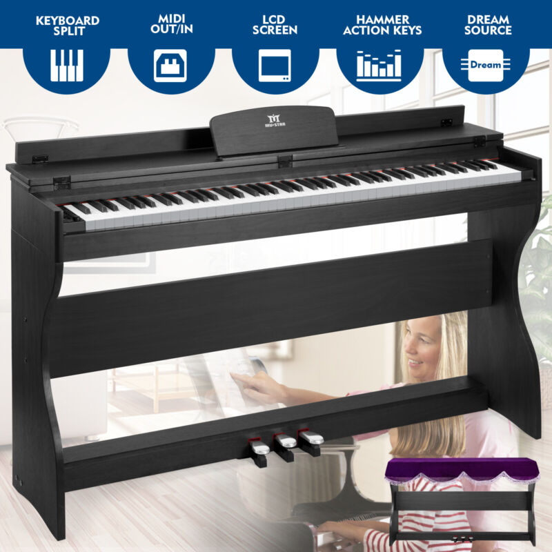 88-Key Electric Keyboard Digital Piano Weighted Bundle With Stand Pedal MP3Cover