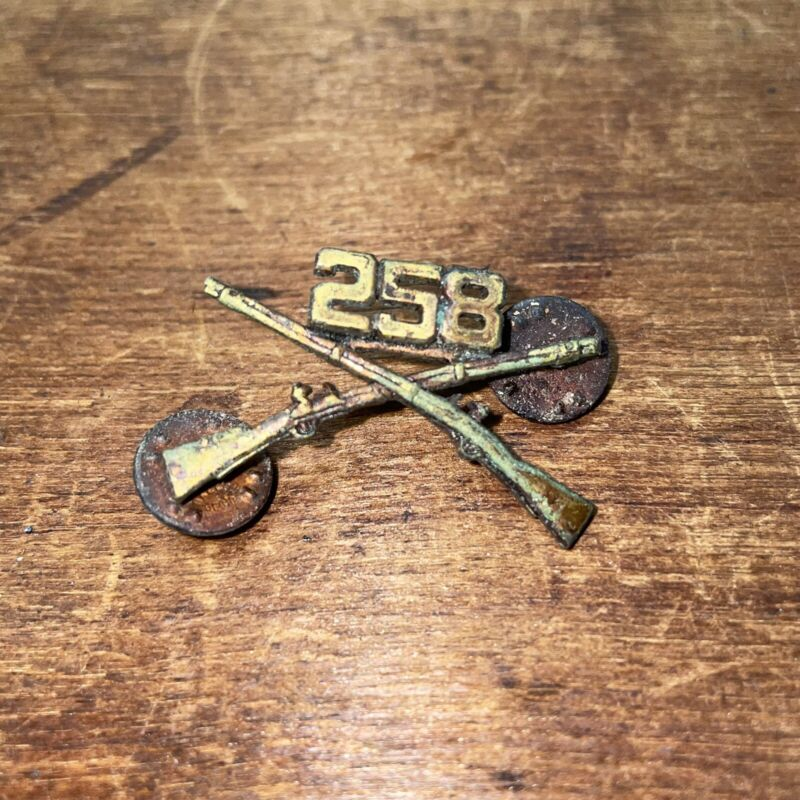 258th Infantry Regiment Enlisted Infantry Cap Insignia Pin Military Vintage