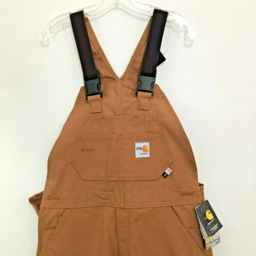 CARHARTT BROWN FLAME RESISTANT FR DUCK BIB OVERALLS UNLINED NWT New with Tags