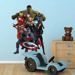 Avengers Multi Colour Wall Art Sticker Boys Bedroom Superhero Decal Mural Print Ebay