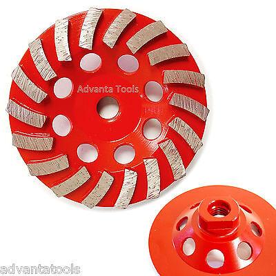 4.5 Spiral Turbo Concrete Diamond Grinding Cup Wheel 18 Segs 58-11 Arbor