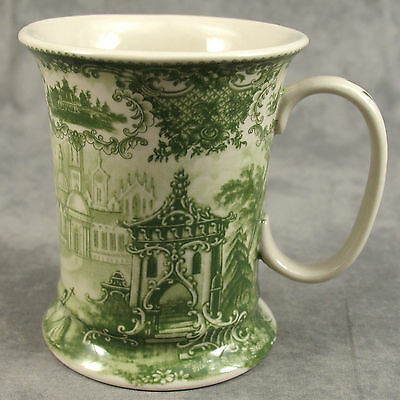 GREEN & CREAM TRANSFERWARE VICTORIAN COUNTRYSIDE TOILE MUG CUP ~ 12 Ounce ~