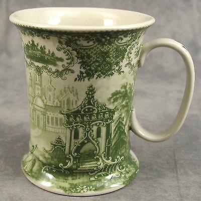 Cream 12 Ounce Mug (GREEN & CREAM TRANSFERWARE VICTORIAN COUNTRYSIDE TOILE MUG CUP ~ 12 Ounce)