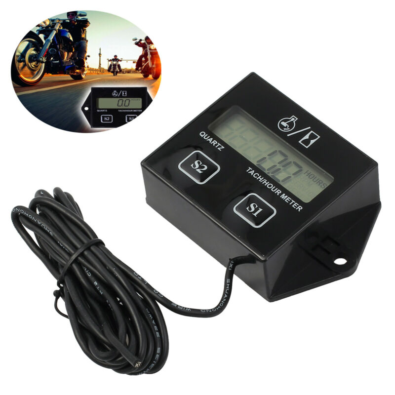 Digital Gas Engine RPM Tachometer Hour Meter for Motorcycle ATV 2 / 4 stroke NEW