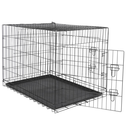 42″ Metal Pets Dog Crate Double Door Folding Metal Dog Crates Fully Equipped Cages & Crates