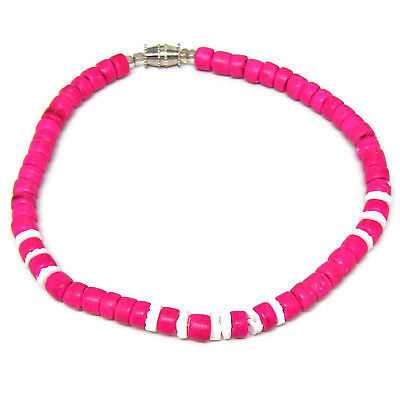 Sup Surfer Girl Puka Shell Anklet Surf Surfing Beach 9 Inch Pink Coconut Beads