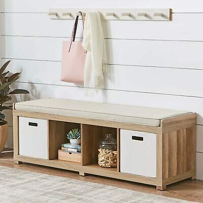 Better Homes and Gardens 4-Cube Organizer Storage Bench Finish Wood Fabric Top