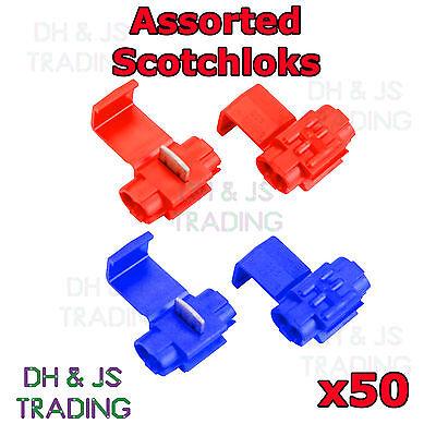 50 Assorted Scotchlock Wire Connectors Scotchlocks Splice Terminal Crimp Mix