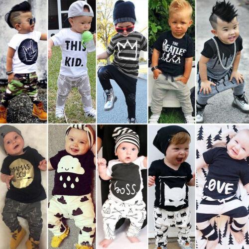Kleinkind Baby Jungen Kinder Sommer Outfit Kleidung T Shirt Top Hose Haremhose