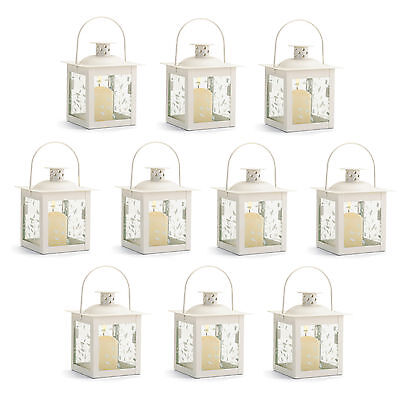 LANTERNS: 10 Small Ivory White Metal and Glass Candle Lamp Wedding Set NEW