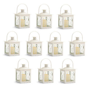 lanterns 10 small ivory white metal and glass candle lamp wedding set new