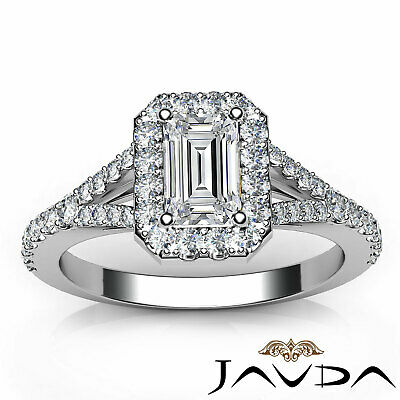 Halo Split Shank U Pave Set Emerald Shape Diamond Engagement Ring GIA H VS2 1Ct 3