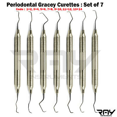 Dental Periodontal Gracey Curette Set Of 7 Clinical Root Planing Hygiene Scaling