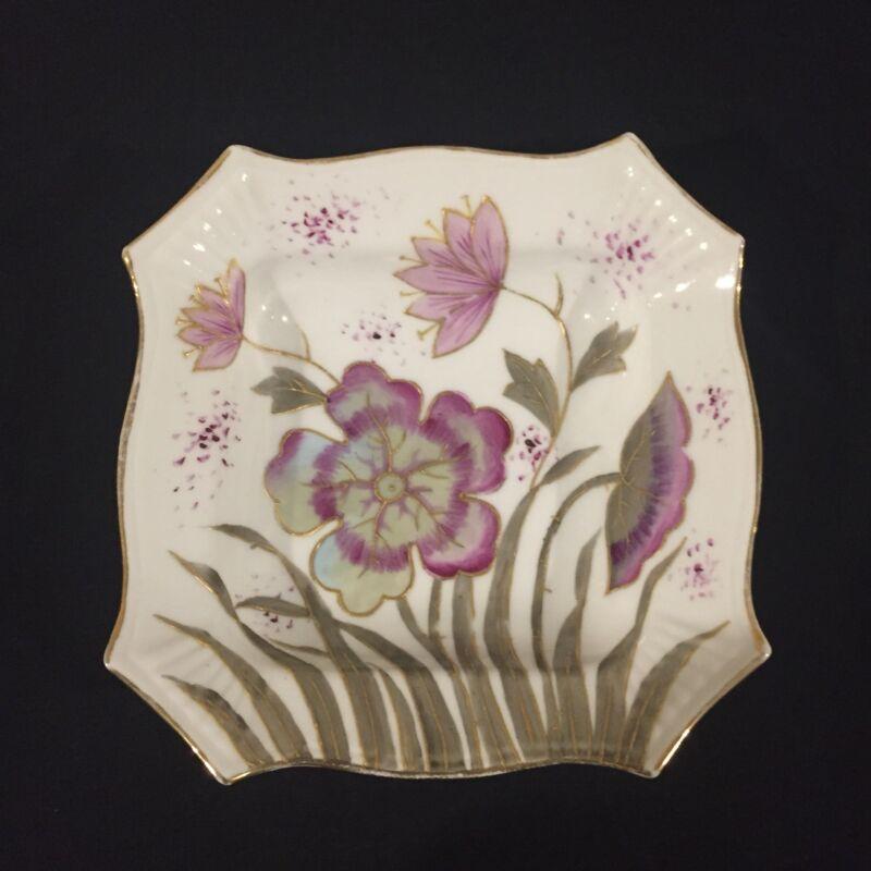 "Vintage Marx & Gutherz Hand Painted 5"" Dish Purple & Violet Flowers"