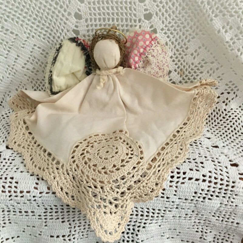 Vintage Quilt and Crocheted Napkin Angel