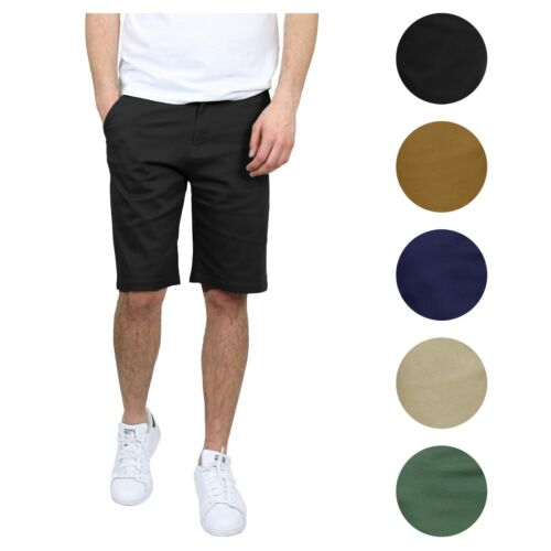 Mens Stretch Chino Shorts Flat-front 5-pockets Summer Casual Slim-fit Belted Nwt
