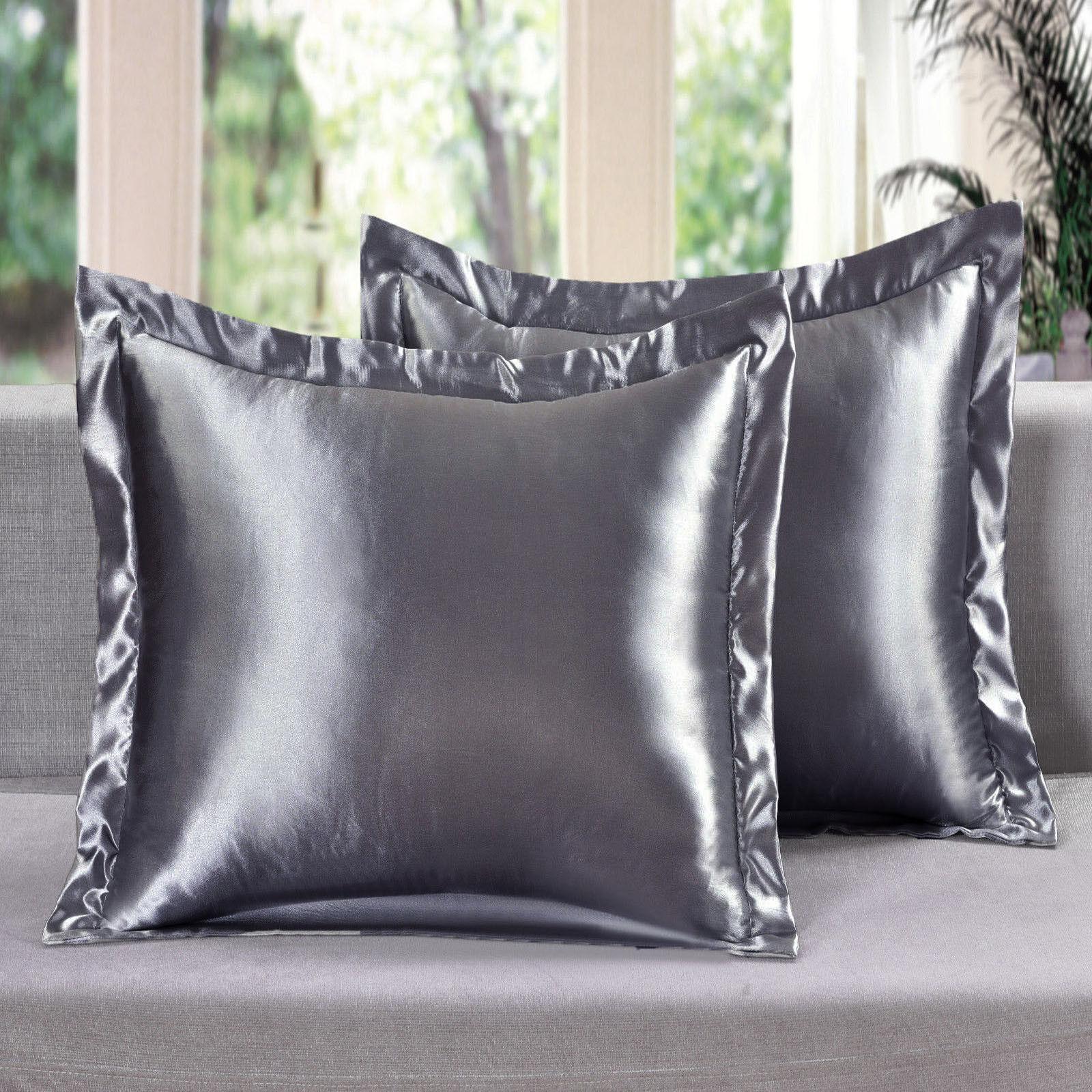2 Piece Satin Euro Shams Solid Gray Cover Case Pillow AT Lin