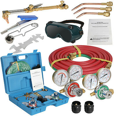 Oxygen Acetylene Weld Welding Cutting Torch Kit Wgauges Goggles Hoses