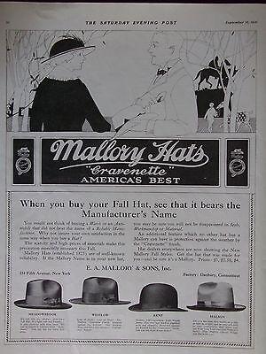 1916 Men's Mallory Hats With Cravenette Finish 4 Styles Shown Advertisement