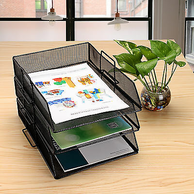 1 Tray Metal Mesh Desktop File Organizer Tray Storage Holder Desk Office Supply