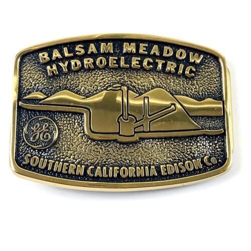 Vintage BTS 1983 Solid Brass GE Southern CA Balsam Meadow Engraved Belt Buckle