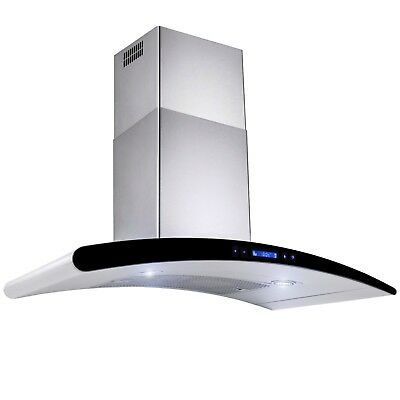 "30"" Futuristic Wall Mount Stainless Steel Range Hood Kitchen Vent"