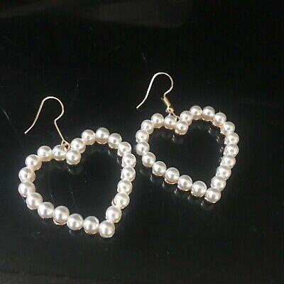 beautiful zara style gold faux pearl valentine hearts drop dangle earrings