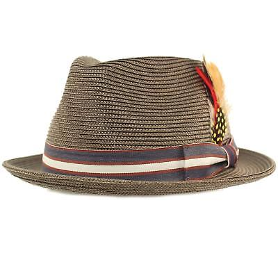 Men's Stripe Band Removable Feather Derby Fedora Curled Brim Hat](Fedora Hat Feathers)