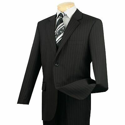 VINCI Men's Black Striped 2 Button Classic Fit Business Suit (Black Striped 2 Button Suit)