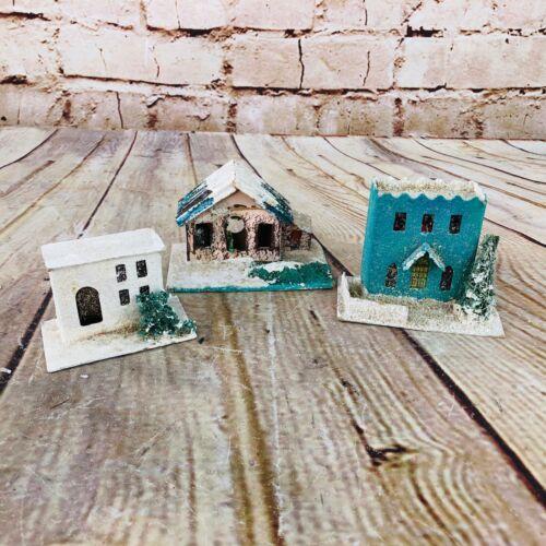 lot of 3 Vtg putz House Made In Japan Christmas village decor glitter MCM mica