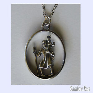 Pewter-Necklace-on-chain-110-ST-CHRISTOPHER-MEDALLION-Travel-Protector-Saint