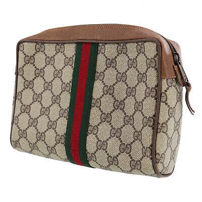 GUCCI GG Plus Web Stripe Clutch Hand Bag Brown PVC Italy Vintage Auth #OO609 Y