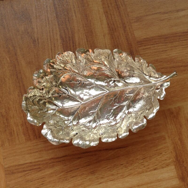 Vintage Gianmaria Buccellati Sterling Silver Leaf Trinket Dish, Made In Italy
