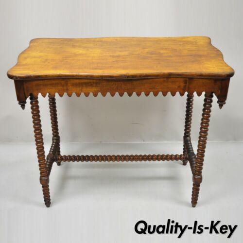 Antique Arts Crafts Spiral Carved Barley Twist Occasional Side Table Alligatored