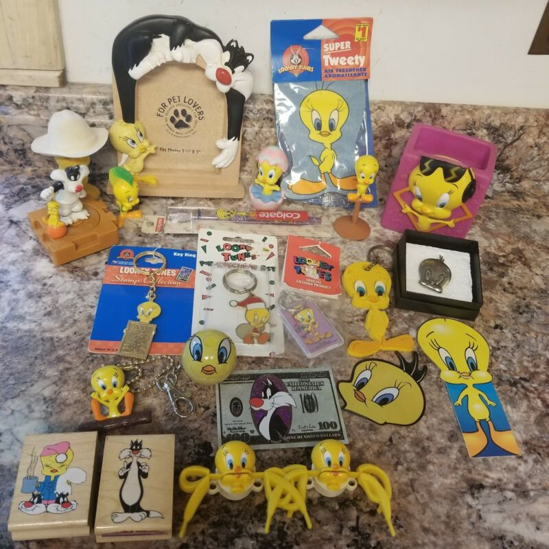 Vintage Tweety Bird Collectables Large Lot!  Keychains Toothbrush Pins Frame +