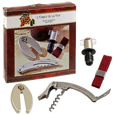 Drip Wine Server (Wine Lovers 4pc Gift Set Waiter's Friend Sommelier Corkscrew Bottle Opener Foil )