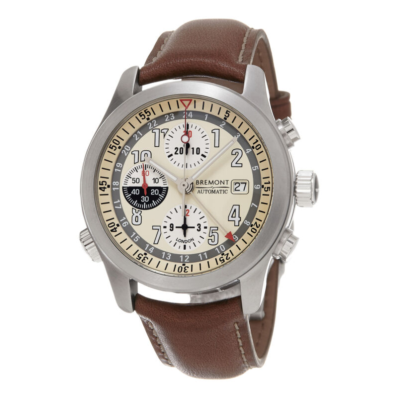 Bremont Men's Zulu Ivory Dial Chronograph GMT Automatic Leather Watch ALT1-Z/CR - watch picture 1