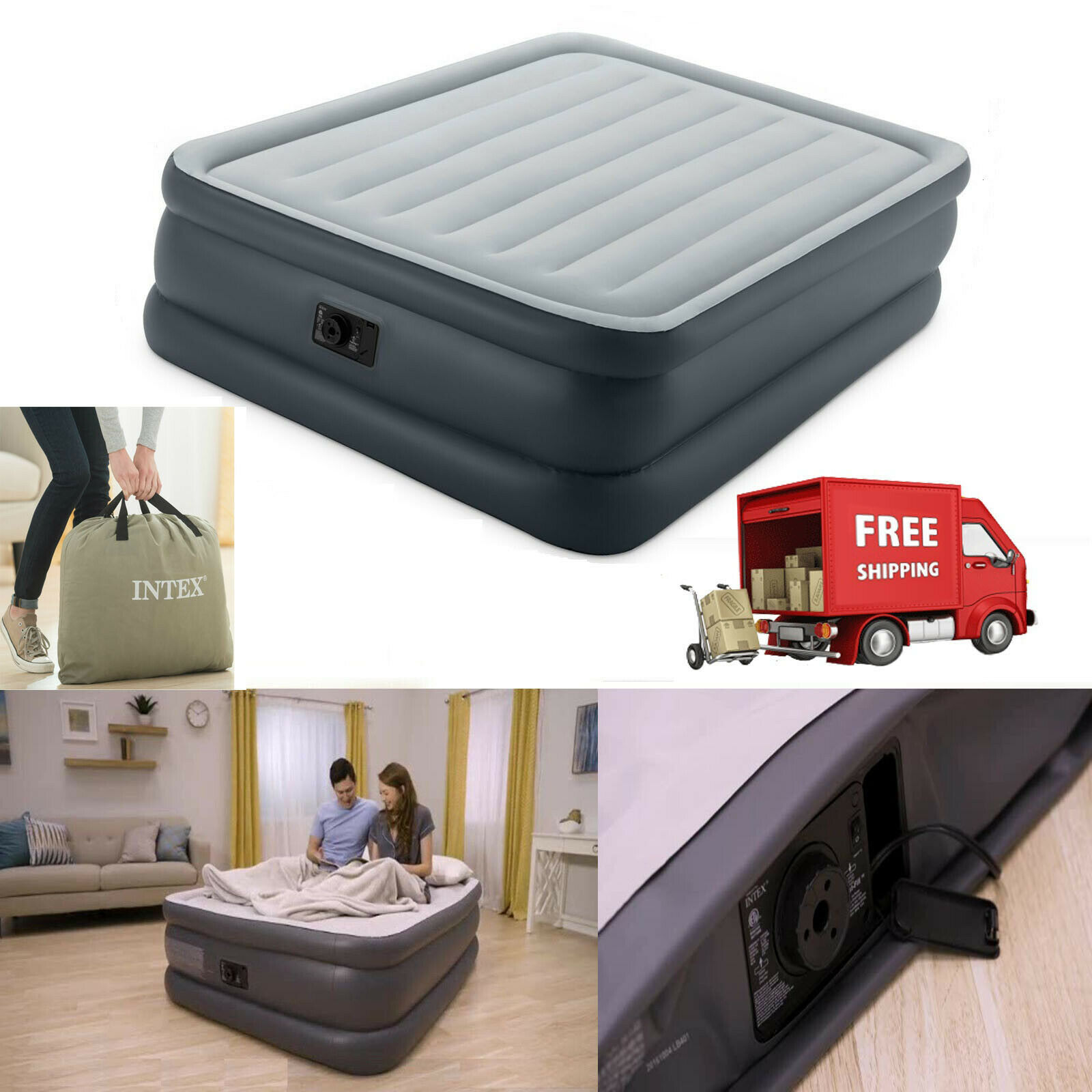 Intex Inflatable Airbed Built In Quick Electric Pump Air Mat