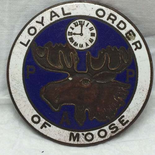 Vintage 1930s Enamel Car Emblem Loyal Order of Moose Badge PAP Rat Rod