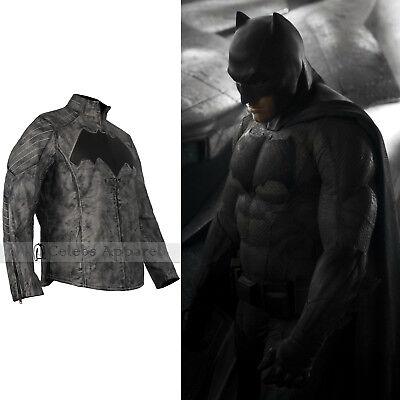 Affleck Batman Costume (Ben Affleck Batman Vs Superman Dawn Of Justice Mens Grey Leather Jacket)