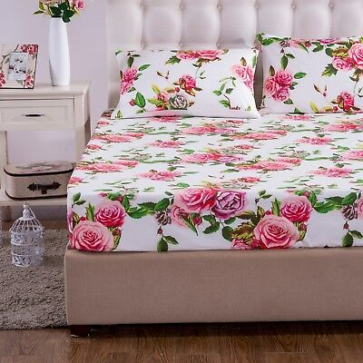 DaDa Bedding Romantic Roses Garden Fitted Bed Sheet Pink Floral w/ Pillow Cases Pink King Fitted Sheet