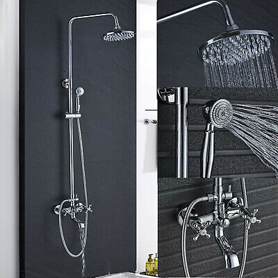 Chrome Bathroom 8-inch Rainfall Shower Faucet Set Mixer W/Handheld Wall Mounted Chrome Wall Mounted Bathroom Faucet